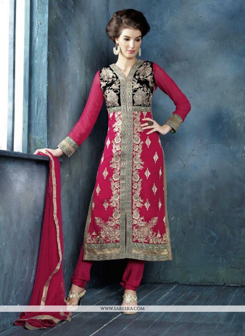 Jaaz Hot Pink Georgette Churidar Salwar Suit