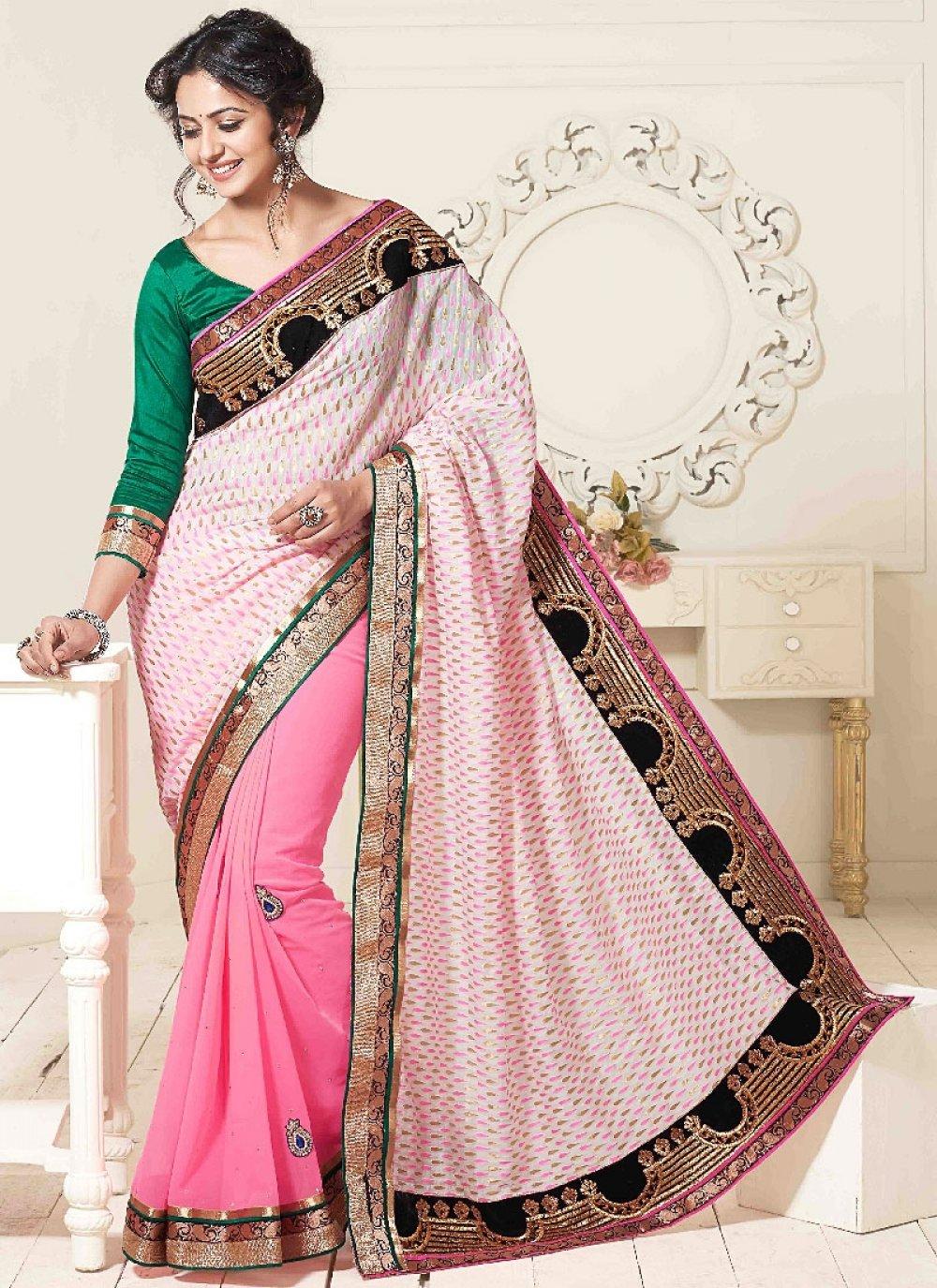 Jaaz Pink Embroidery Work Georgette Designer Saree