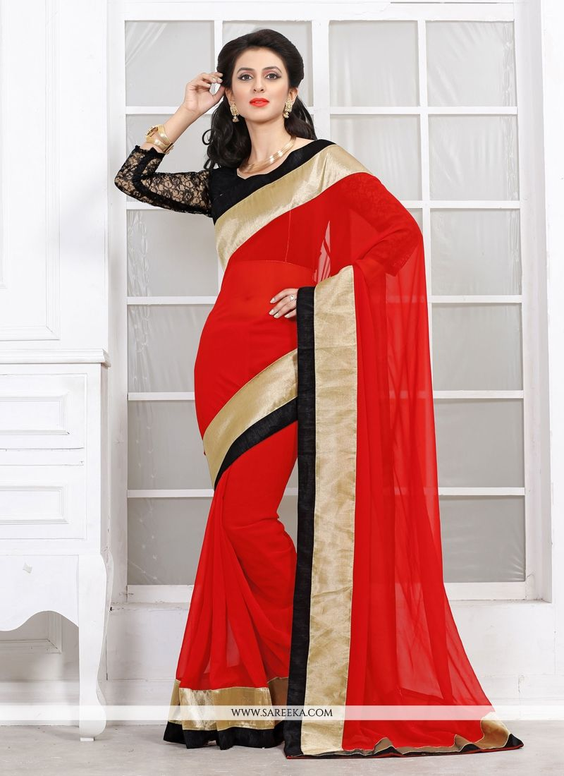 Jaaz Red Georgette Casual Saree