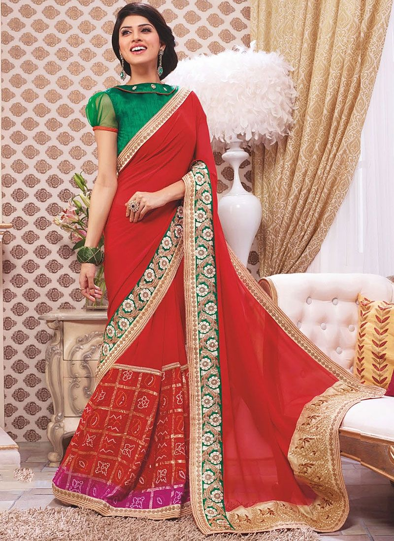 Jaaz Red Georgette Wedding Saree