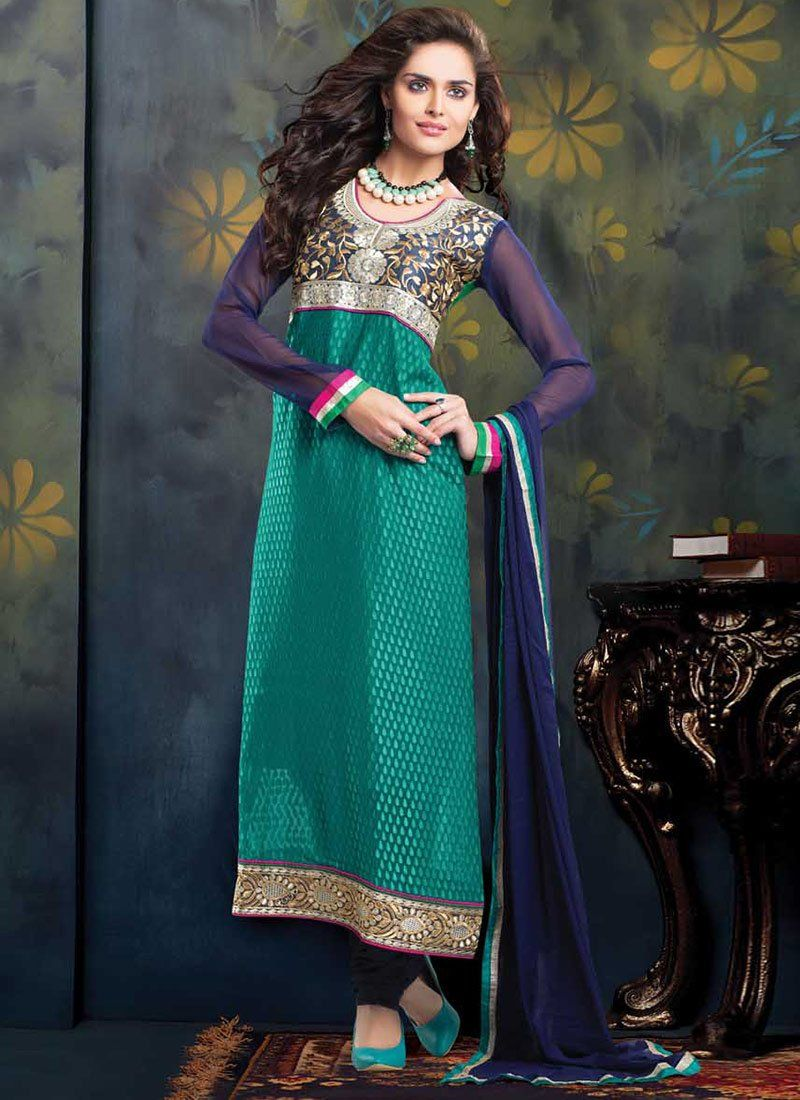 Jaaz Teal Green Shaded Embroidered Long Churidar Suit