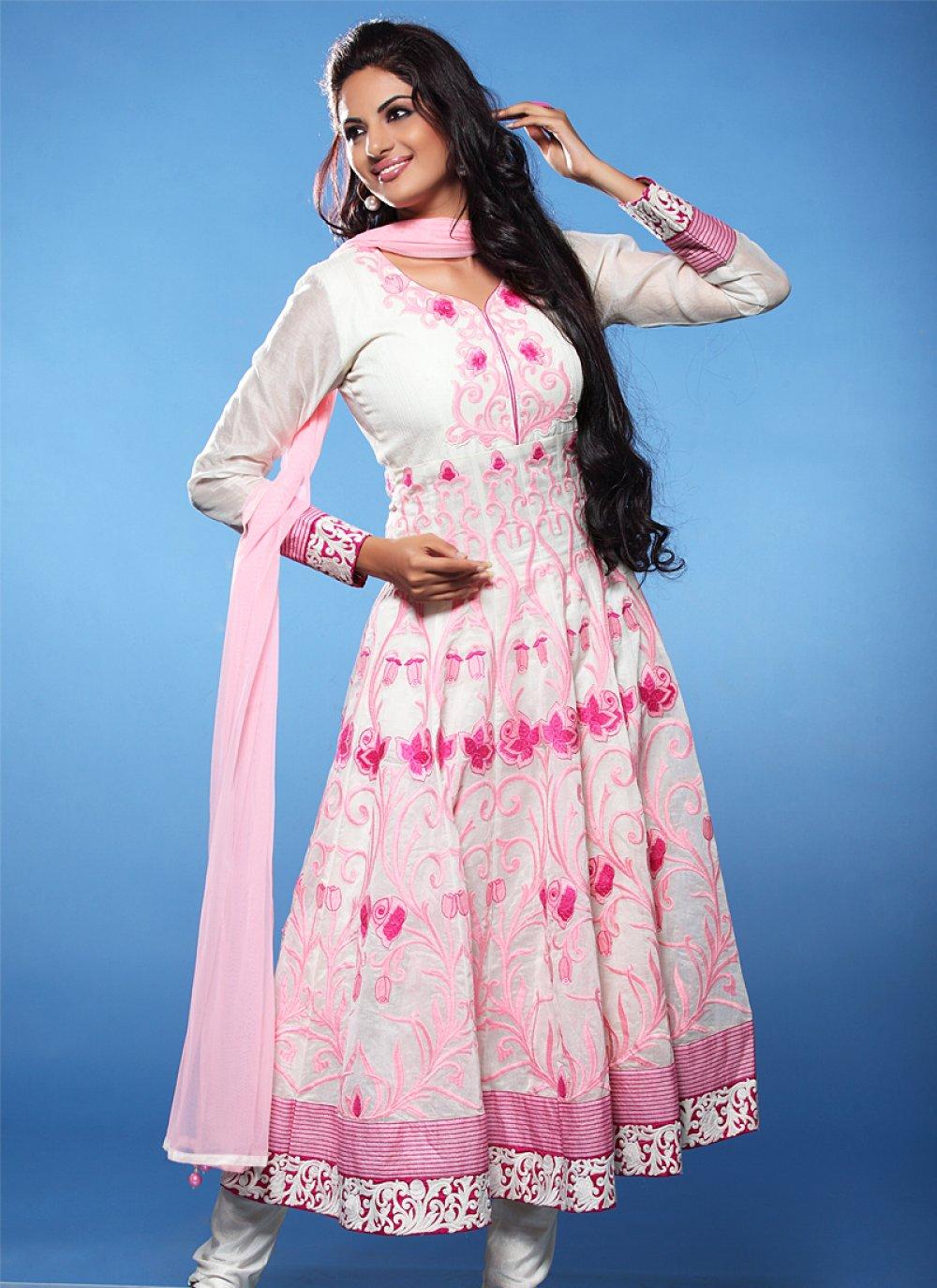 Jaaz White And Pink Resham Work Anarkali Salwar Suit
