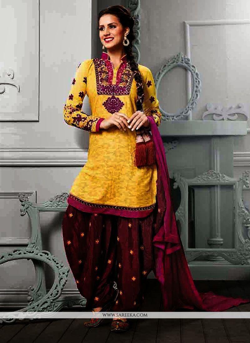 Jaaz Yellow Cotton Jacquard Punjabi Suit