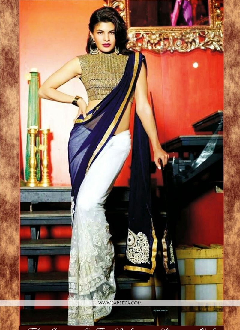 Jacqueline Fernandez Blue and White Bollywood Saree