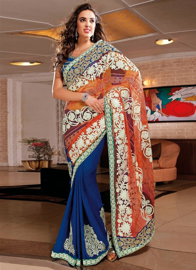 Jazz Blue And Orange Net Viscose Party Wear Saree