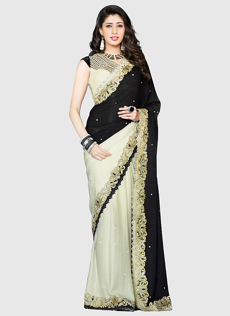 Jazz Cream And Black Bemberg Georgette Saree