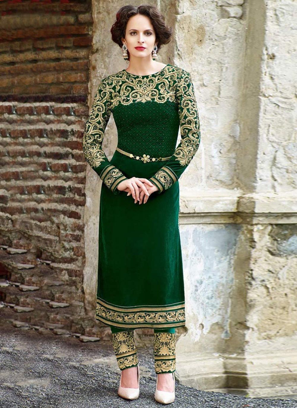 Jazz Green Beads Enhanced Velvet Churidar Suit
