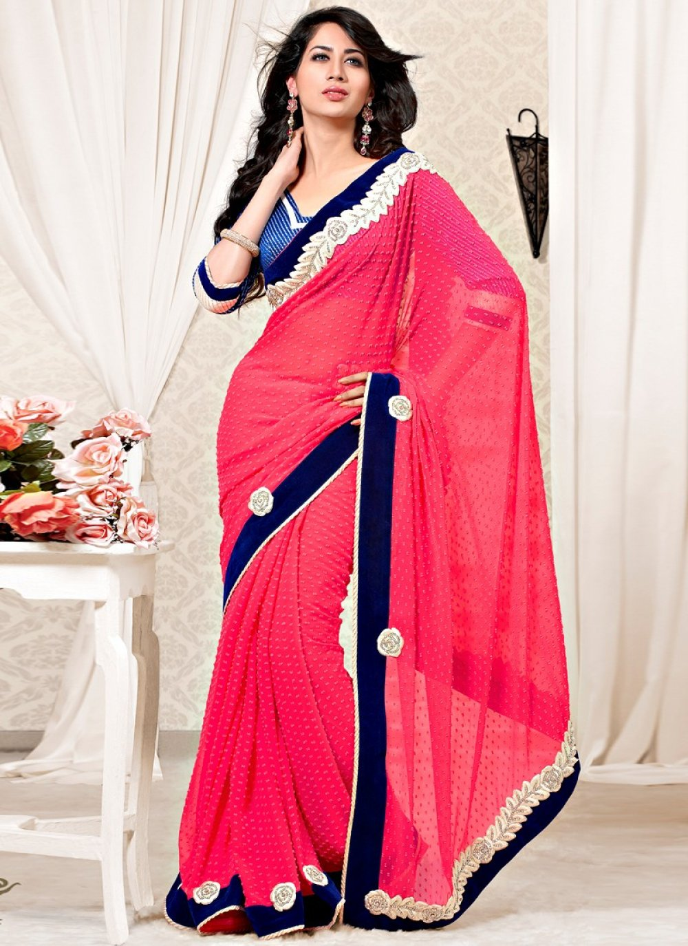 Jazz Pink Color Faux Georgette And Velvet Wedding Saree