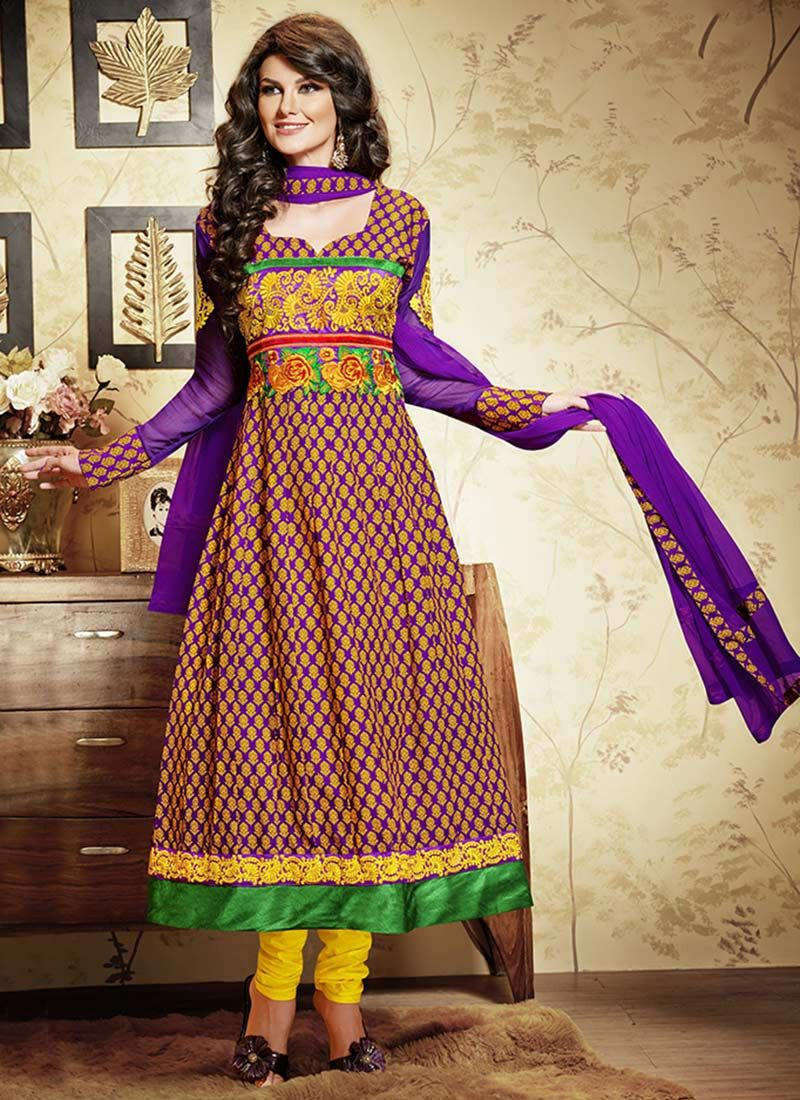 Jazz Purple And Green Printed Cotton Churidar Suit