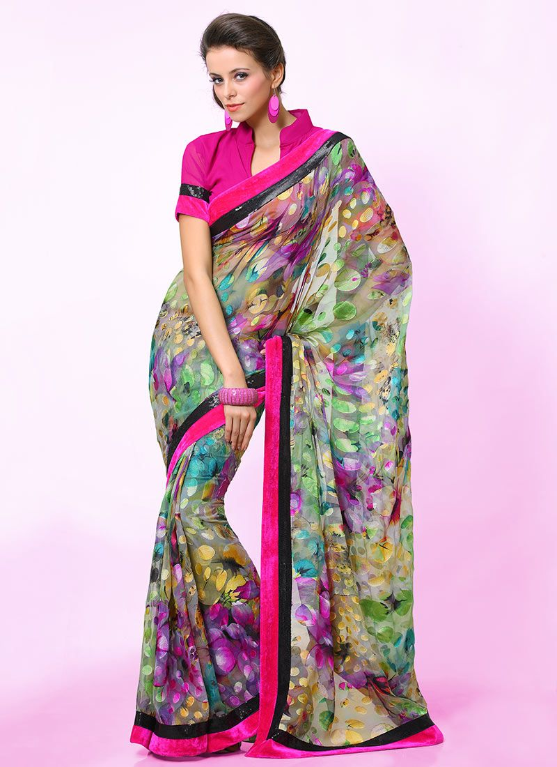Multicolored Printed Saree