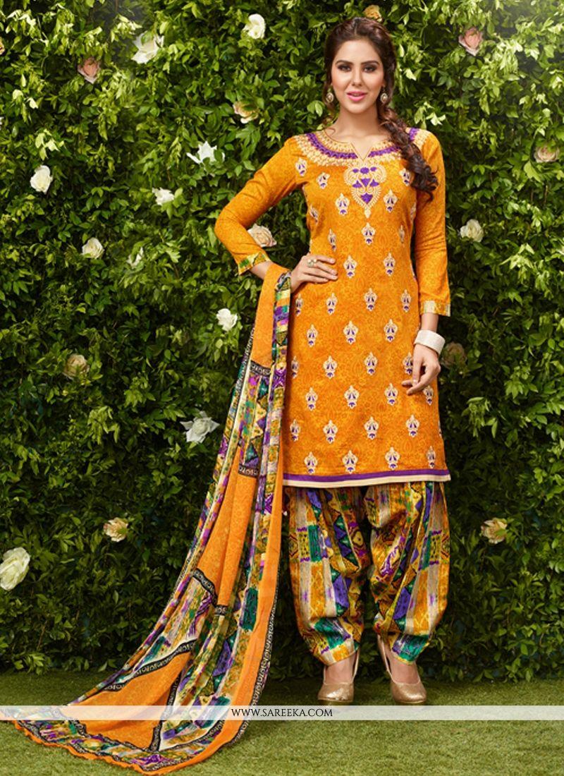 Mustard Lace Work Glessh Designer Patiala Suit