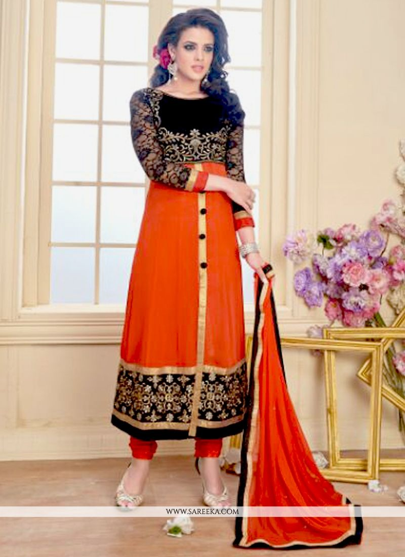 Orange Zari Work Georgette Anarkali Salwar Suit
