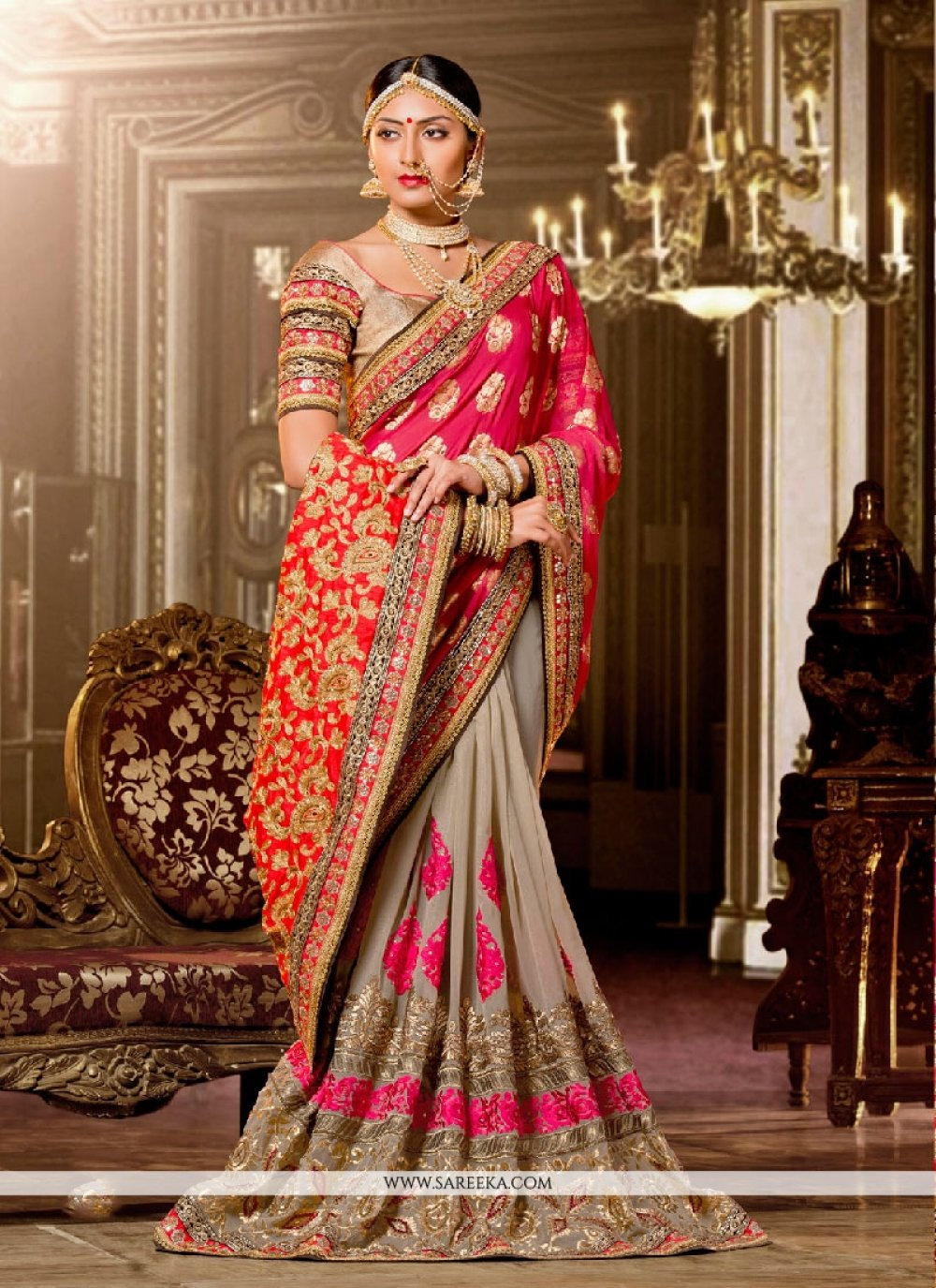 Patch Border Work Classic Designer Saree