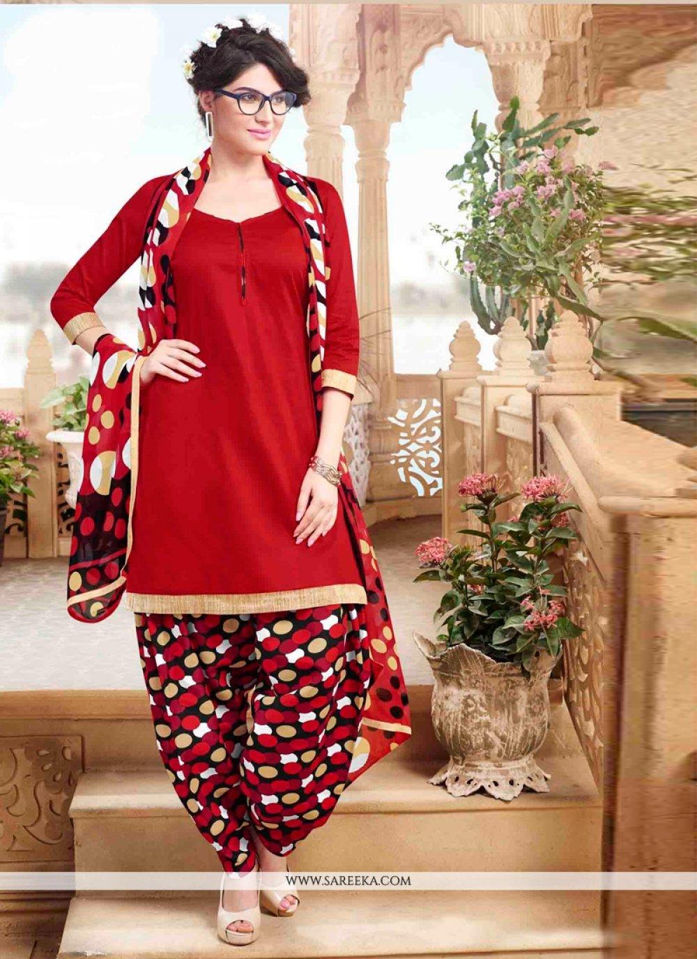 Red Lace Work Cotton   Designer Patiala Suit