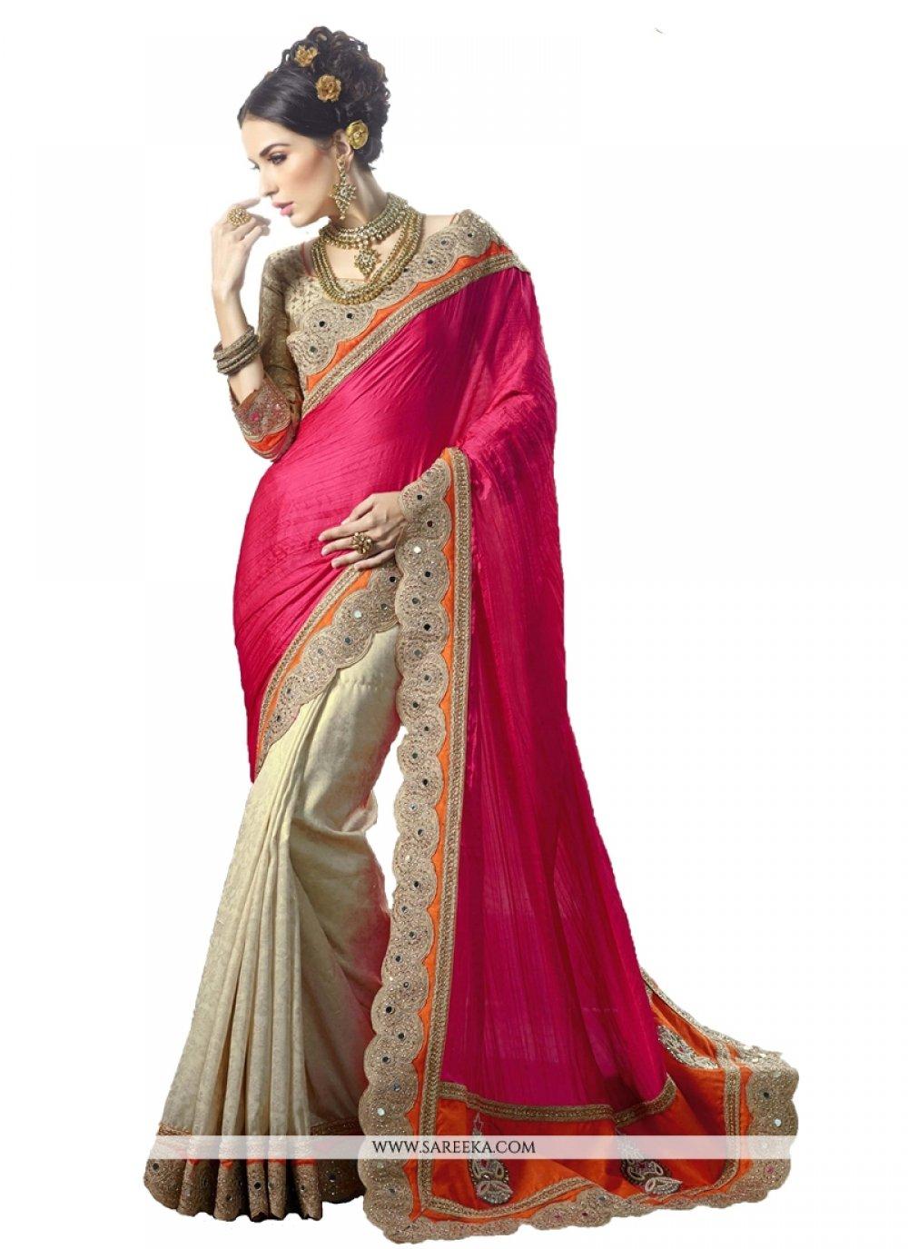 Silk Hot Pink Designer Saree