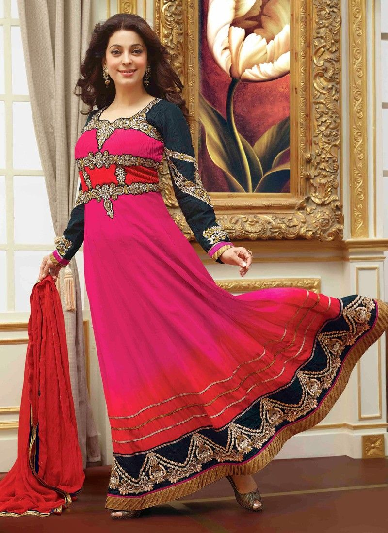 Image result for pink anarkali juhi chawla