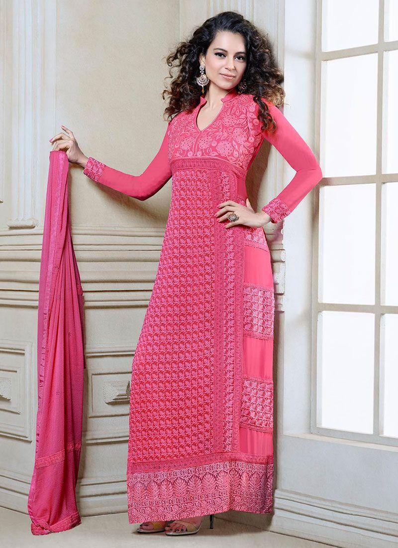 Kangana Ranaut Pink Georgette Churidar Salwar Kameez