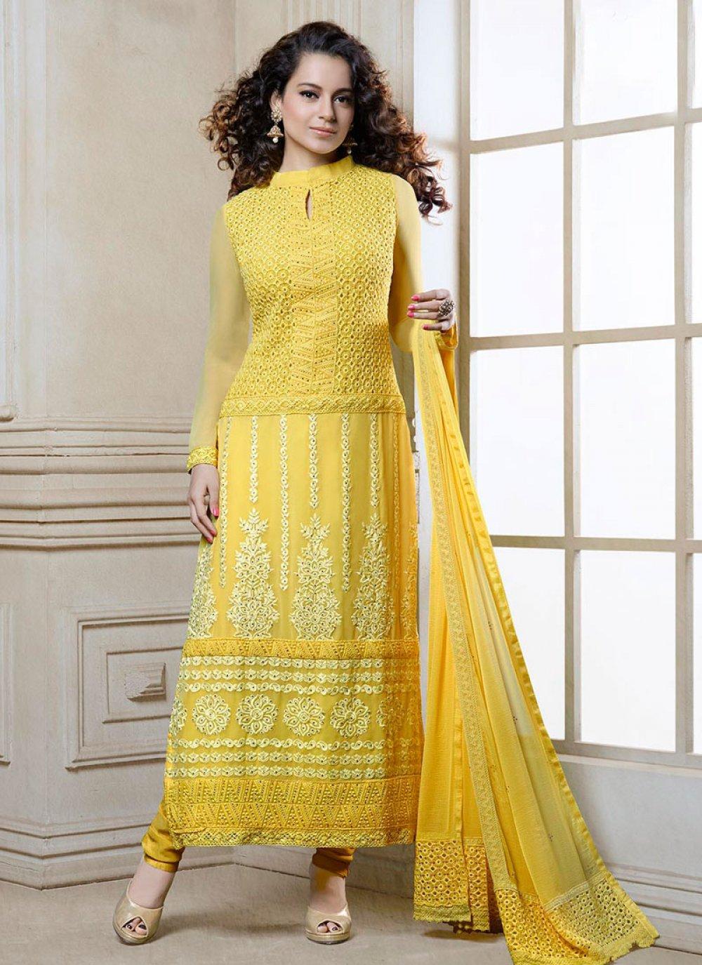 Kangana Ranaut Yellow Georgette Churidar Suit