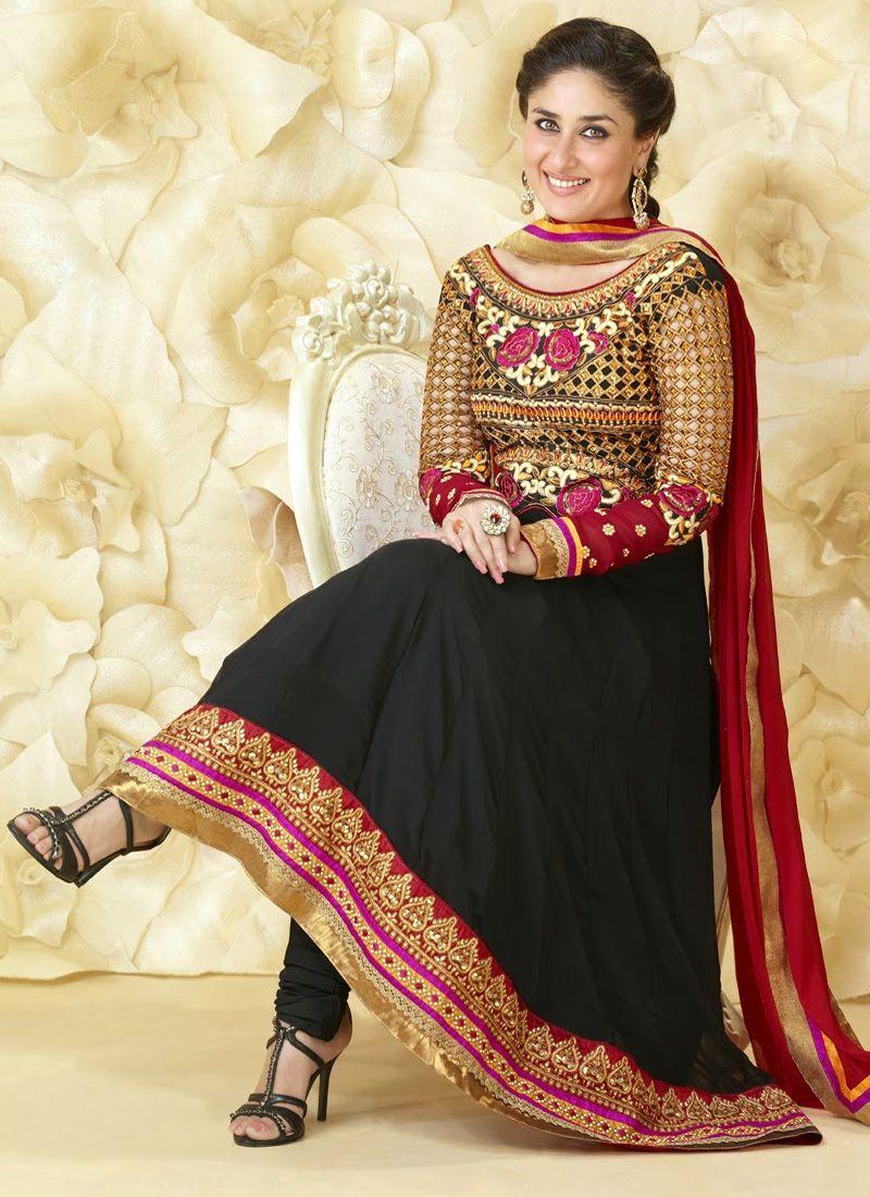 Black dress kareena kapoor - Kareena Kapoor Black Pure Georgette Anarkali Suit