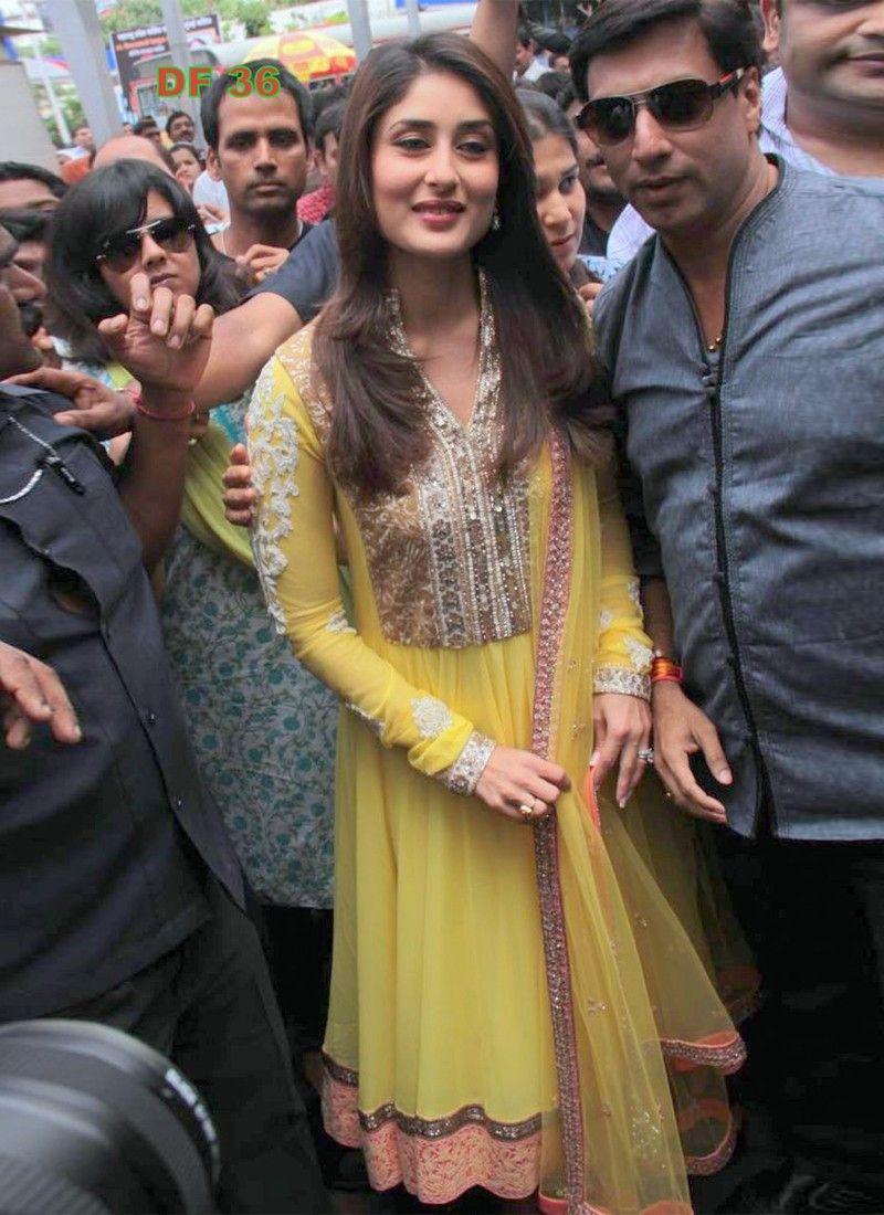 Kareena Kapoor  Faux Georgette Yellow Stylish Suit