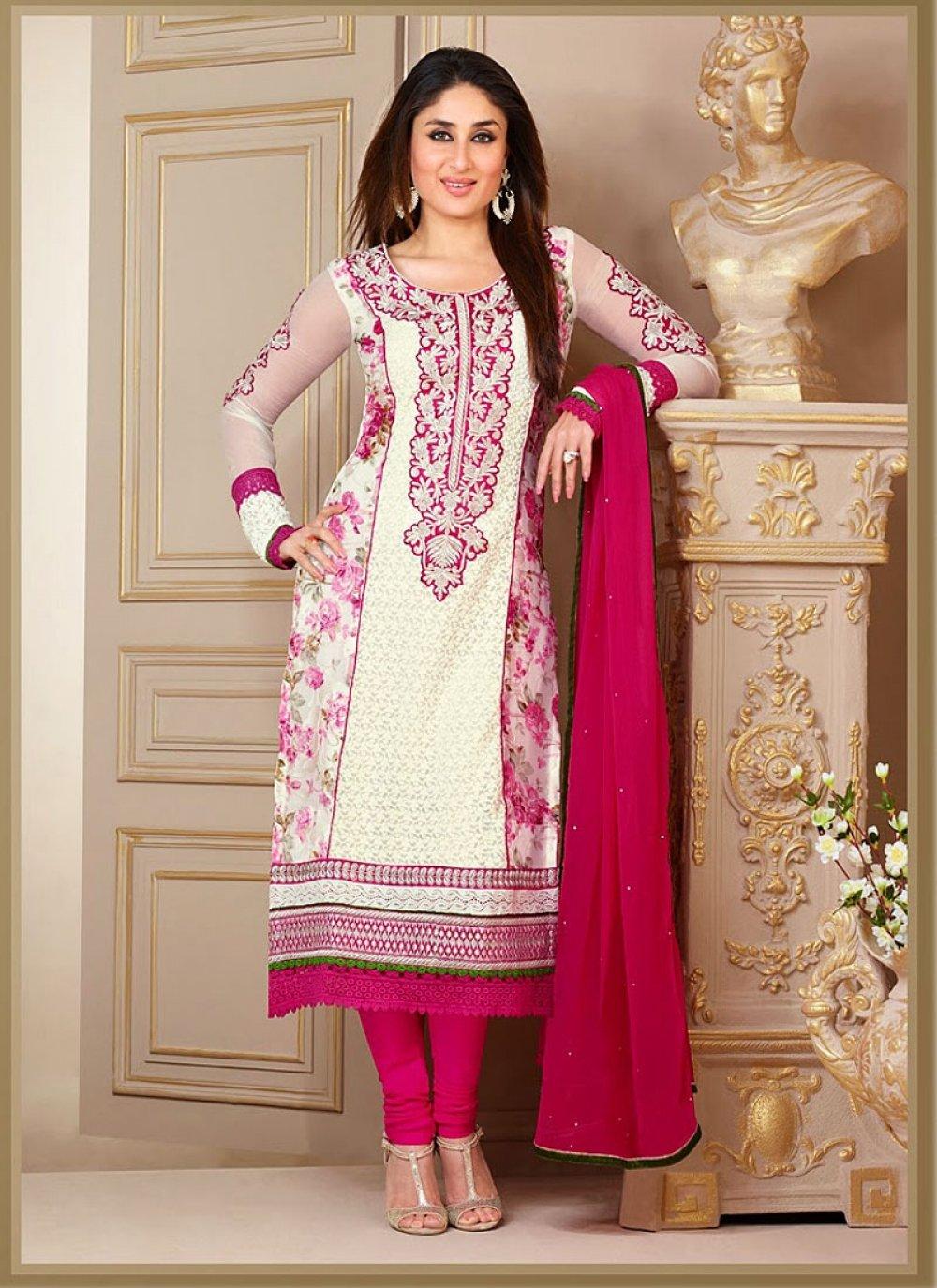 Kareena Kapoor Off White Georgette Churidar Suit