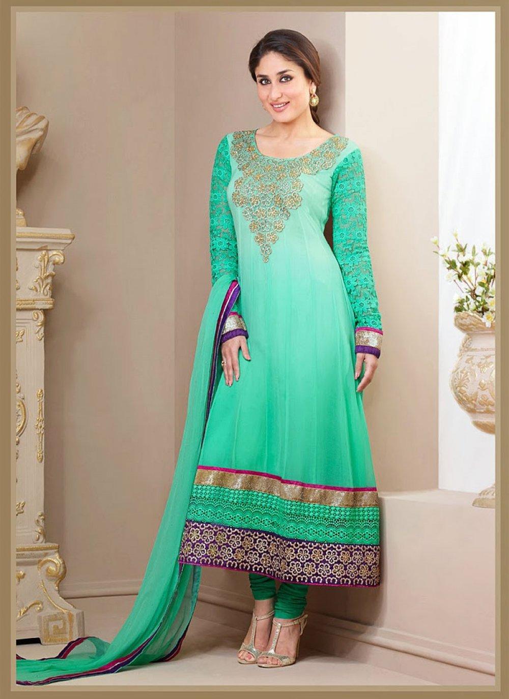 Kareena Kapoor Turquoise Pure Georgette Churidar Suit