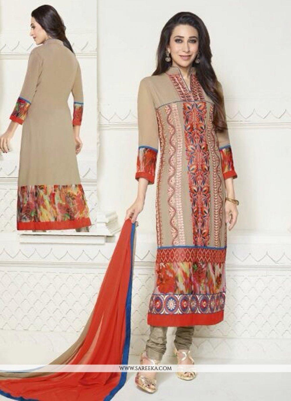Karishma Kapoor Beige Embroidery Work Churidar Suit