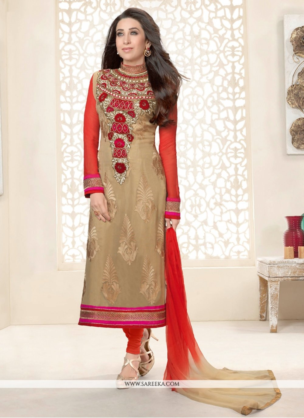Karishma Kapoor Beige Embroidery Work Suit