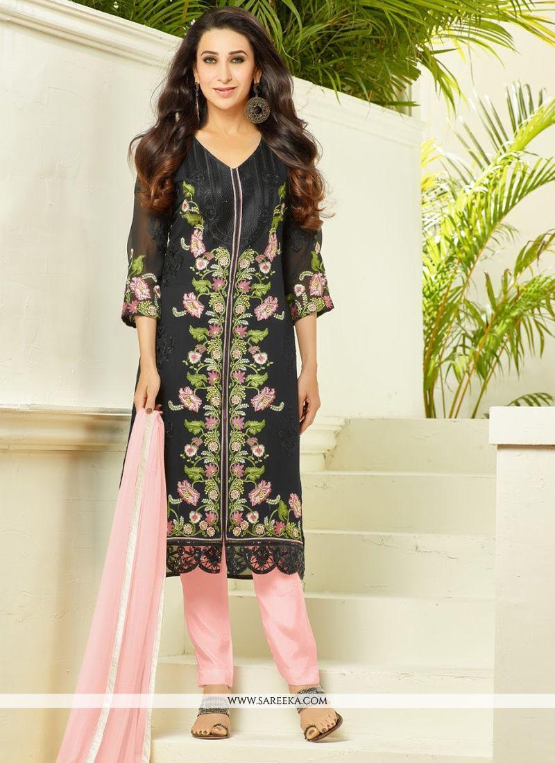 47cab590f43 Karishma Kapoor Black Embroidered Work Designer Pakistani Salwar Suit -