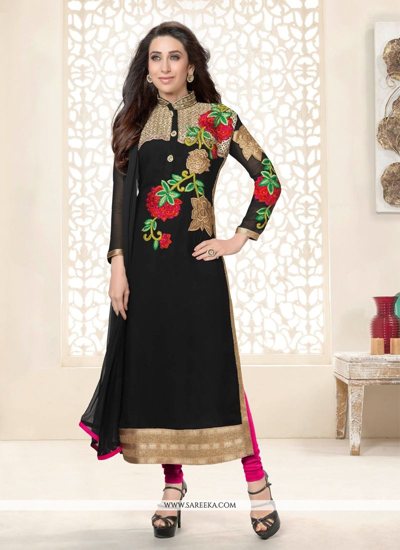Karishma Kapoor Black Georgette Salwar Suit