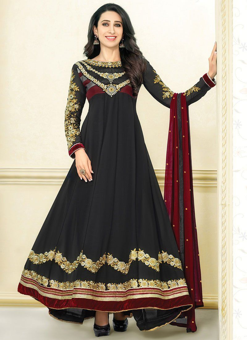 Karishma Kapoor Black Resham Length Anarkali Suit