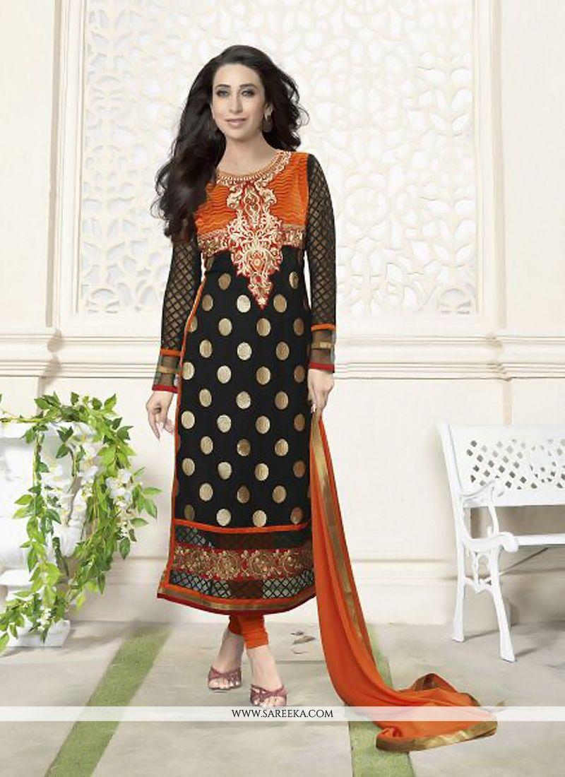 Karishma Kapoor Black Zari Georgette Churidar Suit