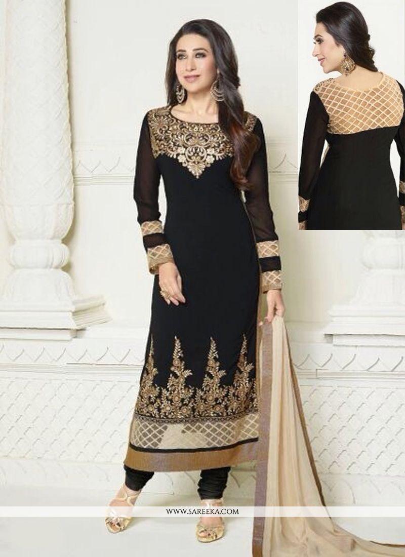 Karishma Kapoor Black Zari Work Georgette Churidar Suit