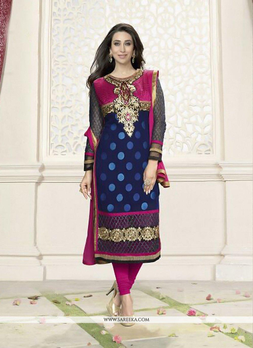 Karishma Kapoor Blue Zari Work Georgette Suit