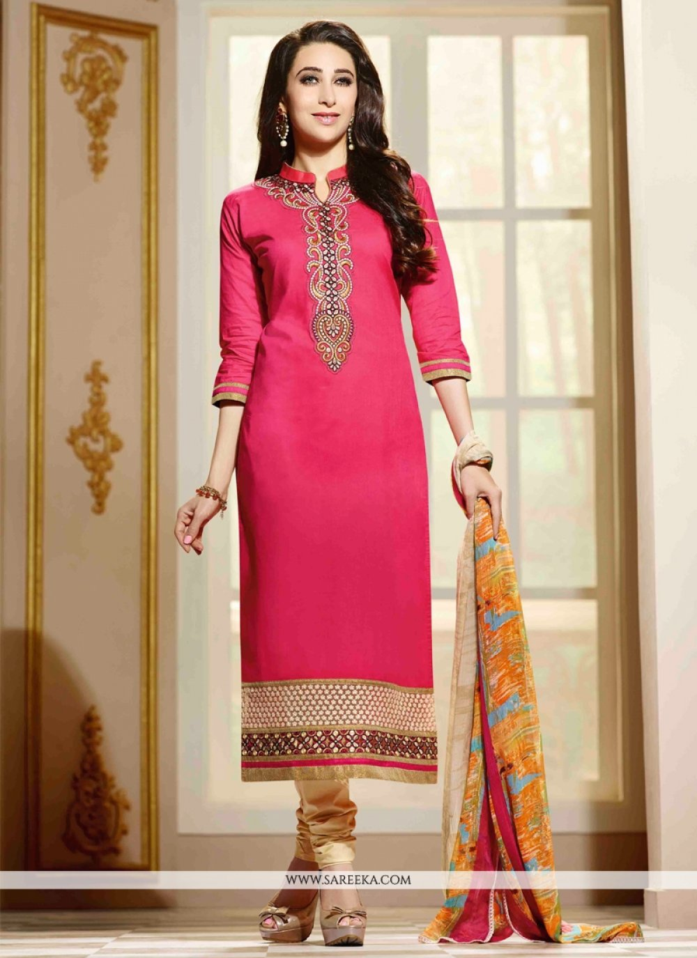 Karishma Kapoor Cotton   Hot Pink Churidar Salwar Suit