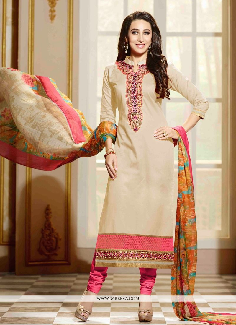 Karishma Kapoor Cotton   Lace Work Beige Churidar Salwar Kameez