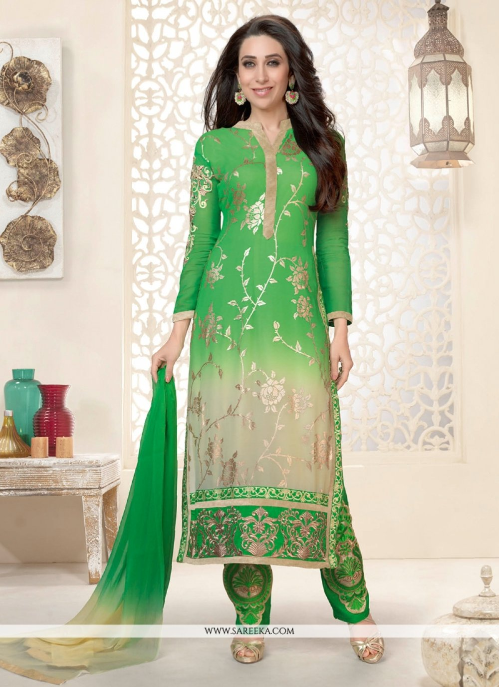 Karishma Kapoor Cream And Green Pant Style Suit