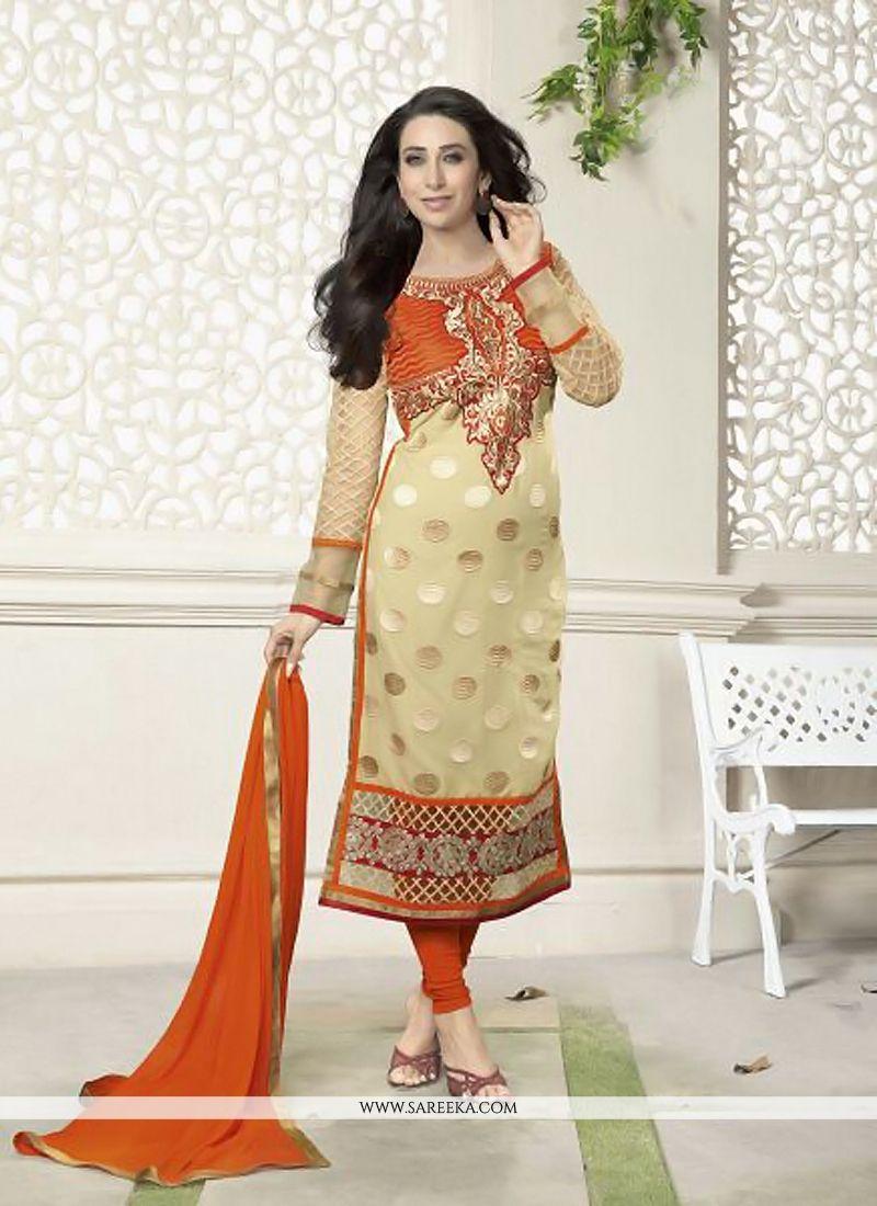 Karishma Kapoor Cream And Orange Georgette Suit