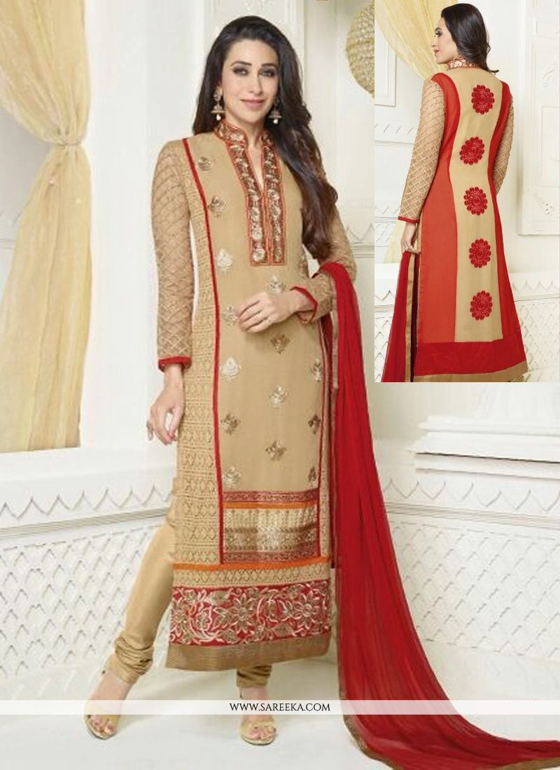 Karishma Kapoor Cream Georgette Churidar Salwar Suit