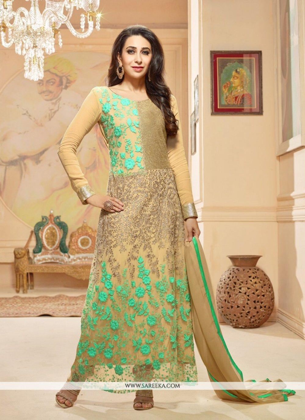 Karishma Kapoor Embroidered Work Cream Anarkali Suit