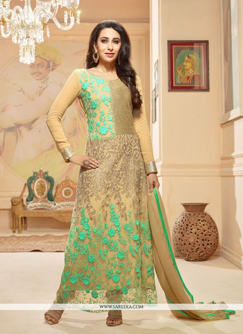 Karishma Kapoor Embroidered Work Cream Anarkali Suit