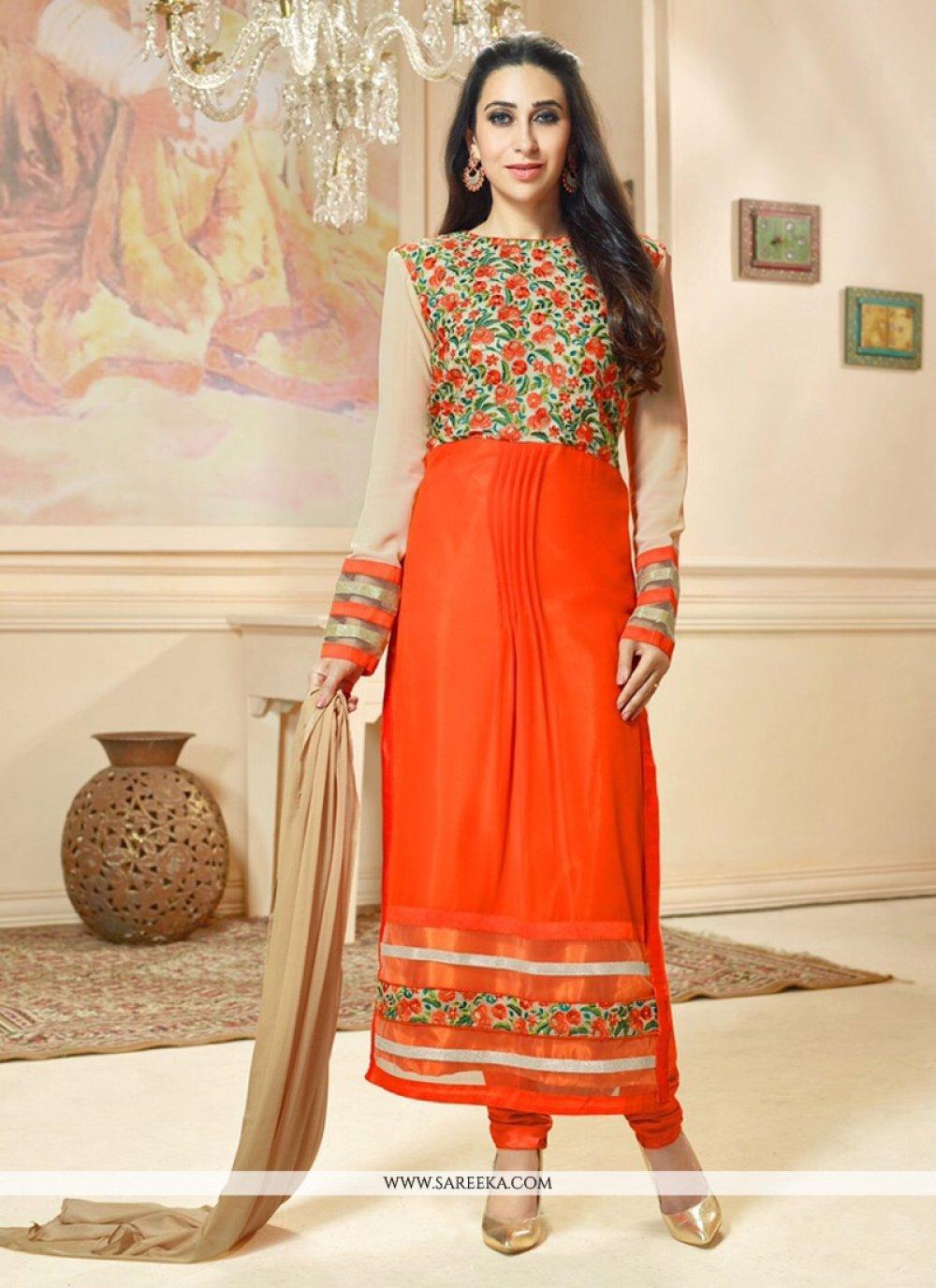 Karishma Kapoor Georgette Resham Work Designer Straight Salwar Kameez