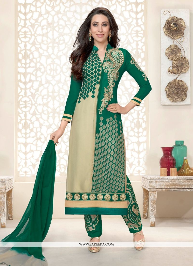 Karishma Kapoor Green And Cream Pant Style Suit
