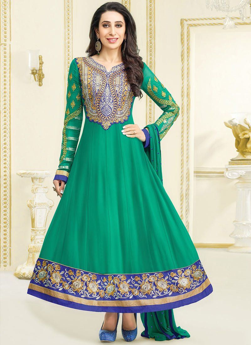Karishma Kapoor Green atch Border Work Anarkali Suit