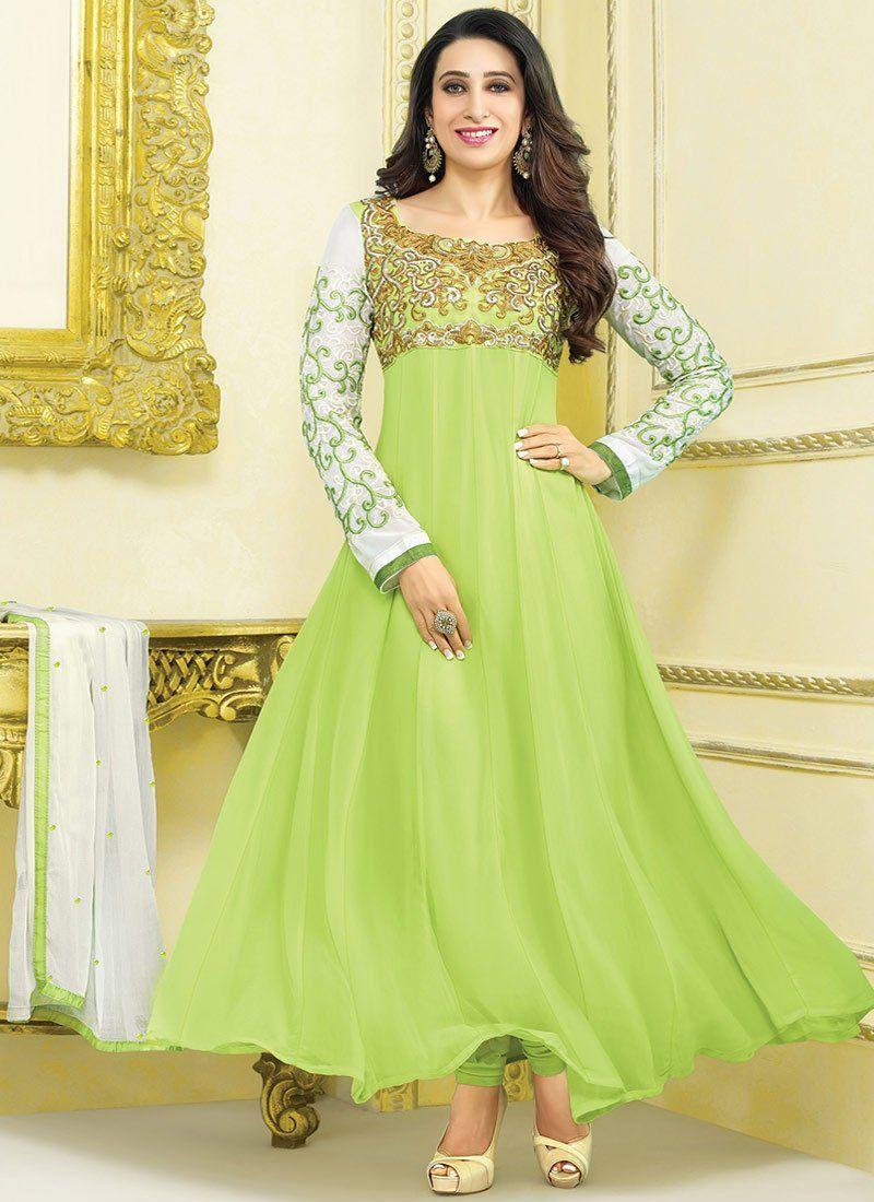 Karishma Kapoor Green Zari Georgette Anarkali Suit