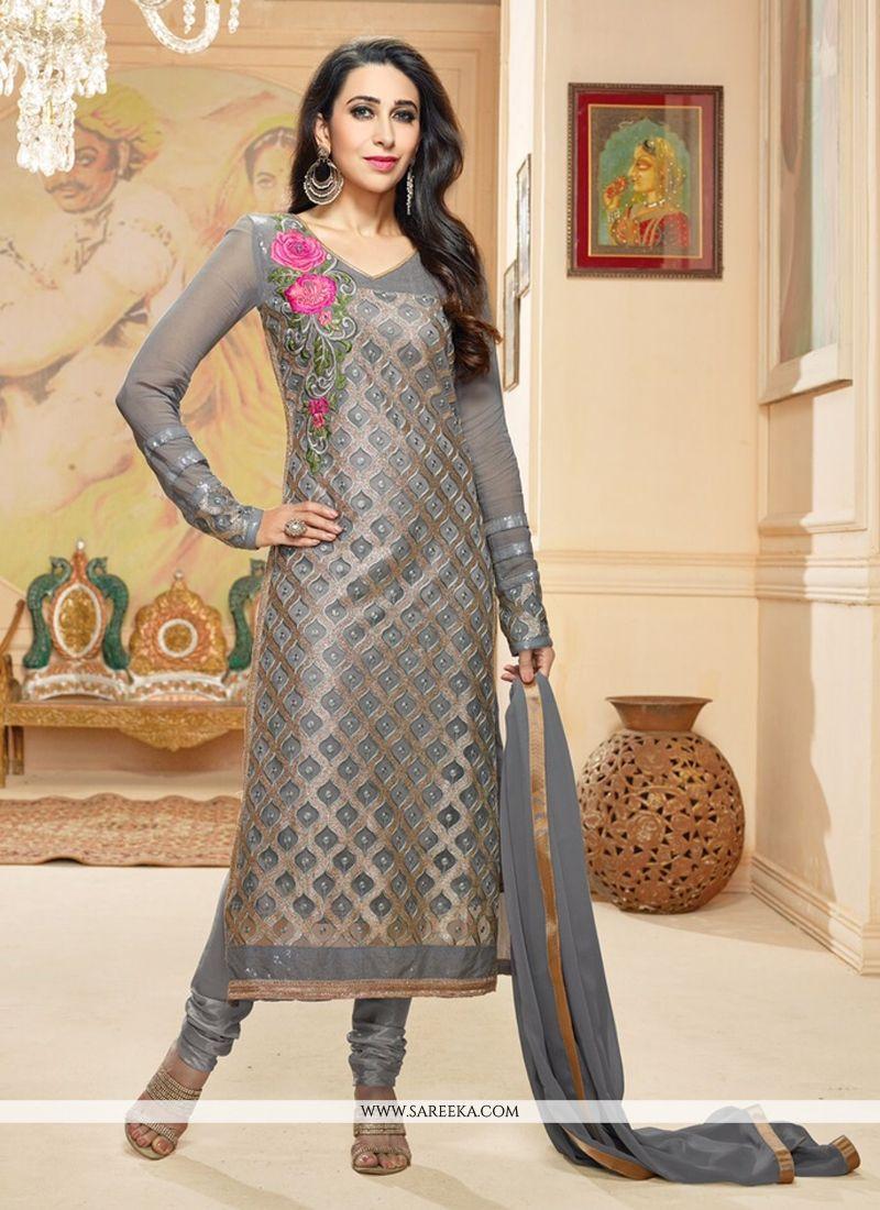 Karishma Kapoor Grey Churidar Salwar Suit