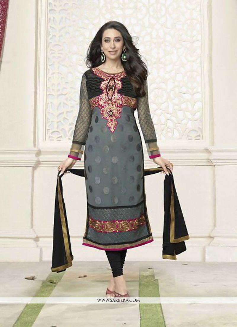 Karishma Kapoor Grey Georgette Churidar Salwar Suit