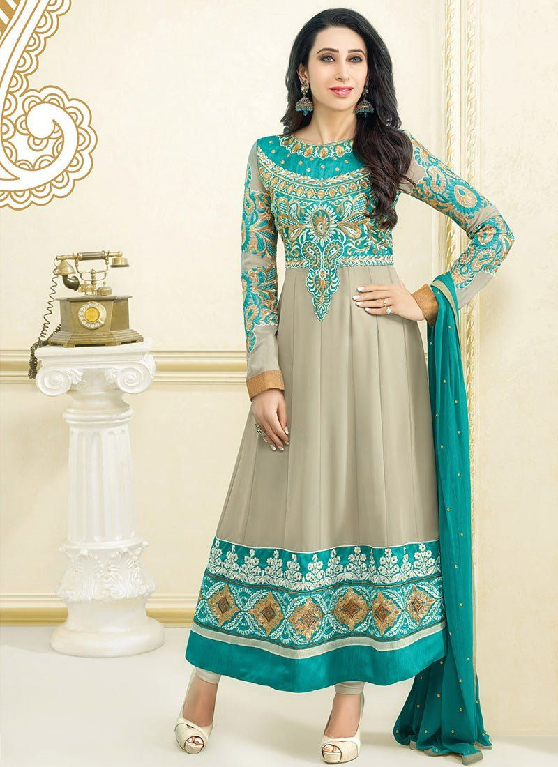 Karishma Kapoor Grey Resham Work Georgette Anarkali Suit