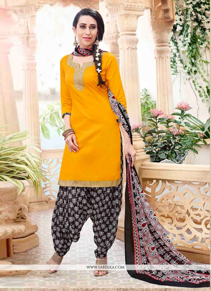 Karishma Kapoor Lace Work Yellow Designer Patiala Suit