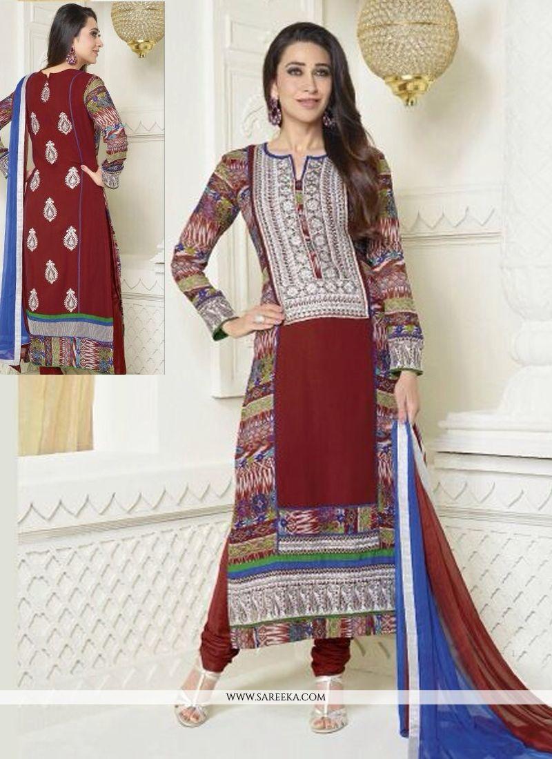 Karishma Kapoor Maroon Georgette Churidar Suit